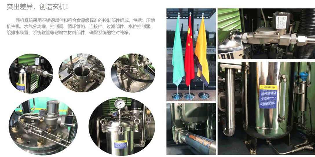 食品级水润滑节能中高压永磁变频全无油螺杆式空压机突出差异创造玄机