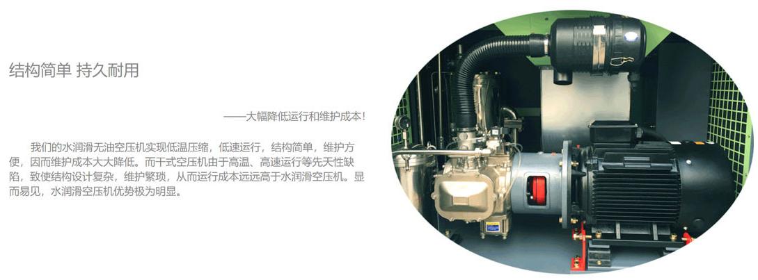 食品级水润滑节能中高压永磁变频全无油螺杆式空压机结构简单持久耐用
